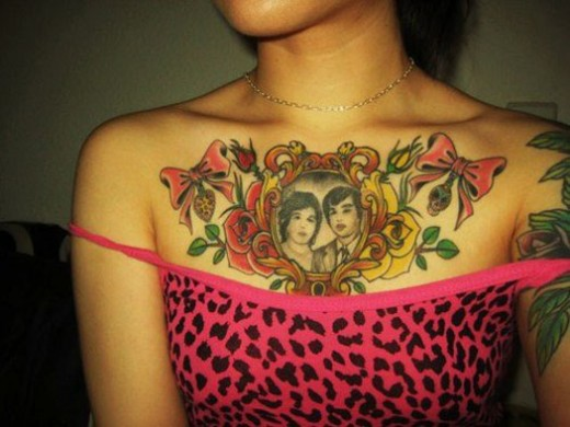 Most And Famous Best Chest Tattoo Design For Girls Teens