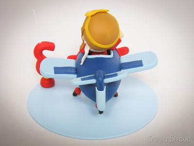 Topo de Bolo Avião Aviador Biscuit