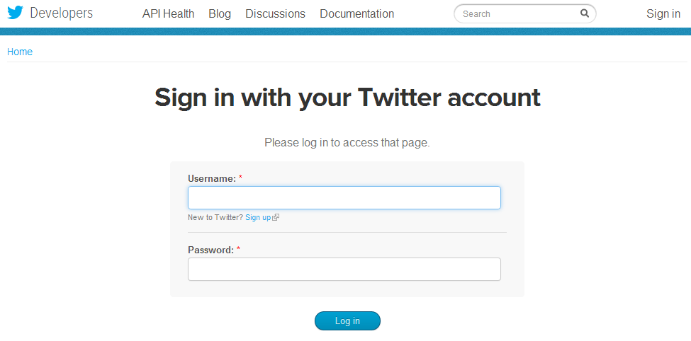 Twitter Card Validation Login Page