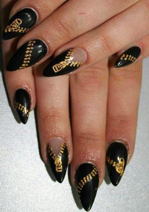 Clear acrylic extensions zip design acrylics Gel-color paint over in 'abyss black of stiletto acrylics water transfer gold zippers