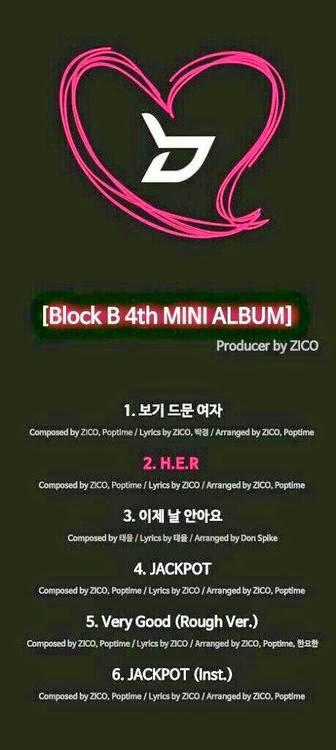 "Zico de Block B revela lista de canciones de su próximo mini álbum, ""H.E.R"""