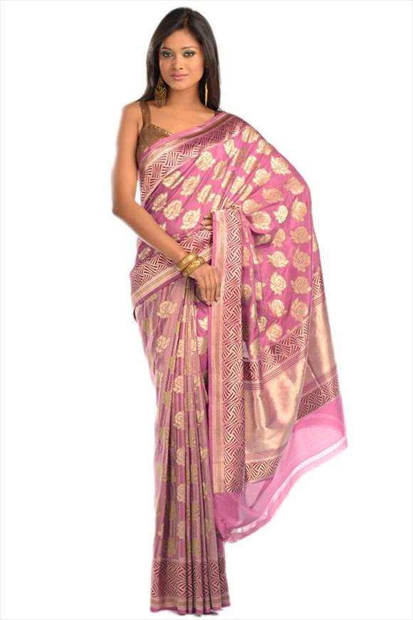 Rosebloom Kattan Silk Banarasi Saree