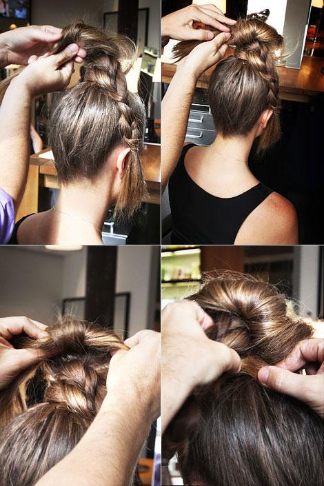 Как на коротких волосах сделать небрежный пучок 208