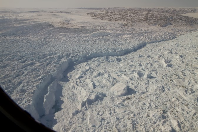 The calving front of Greenland's Jakobshavn Glacier seen during an IceBridge survey flight in 2012.