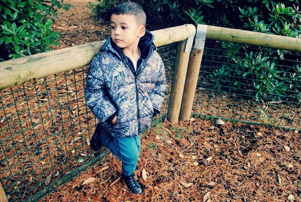Boy in padded winter coat