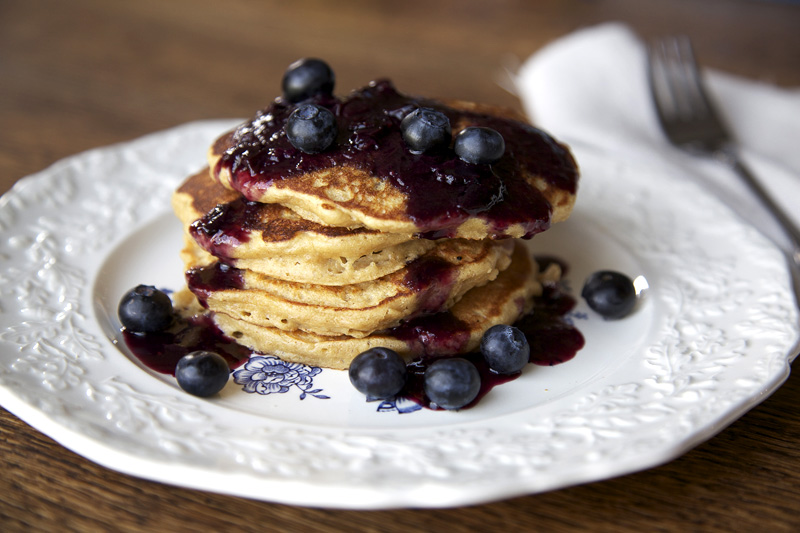 The Flour Sack: Oatmeal Pancakes with Blueberry Maple Compote