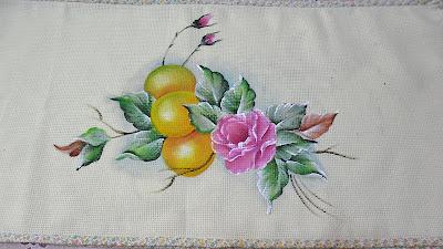 pintura de laranjas com rosa