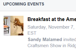 Facebook Event for the American Craftsmen Show Breakfast