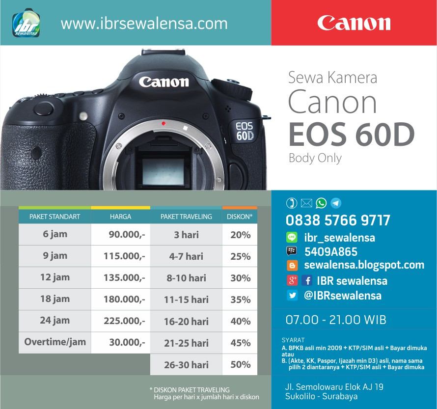 60D. Harga Sewa kamera DSLR Canon EOS 60D Surabaya
