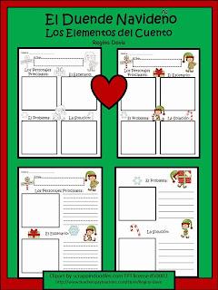 http://www.teacherspayteachers.com/Product/A-El-Duende-Navideno-Elf-Blank-Story-MapsLos-Elementos-del-Cuento-419099