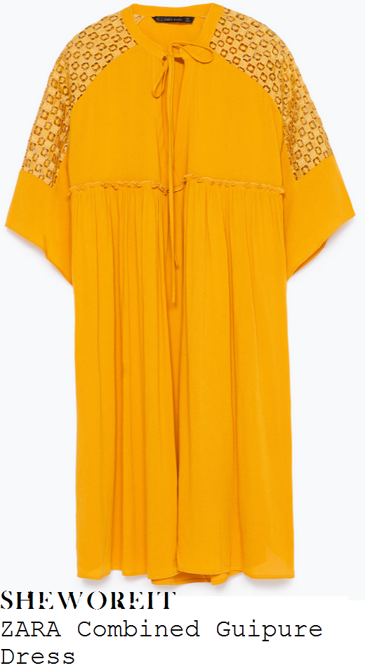 fearne-cotton-yellow-half-sleeve-lace-panel-dress-big-weekend