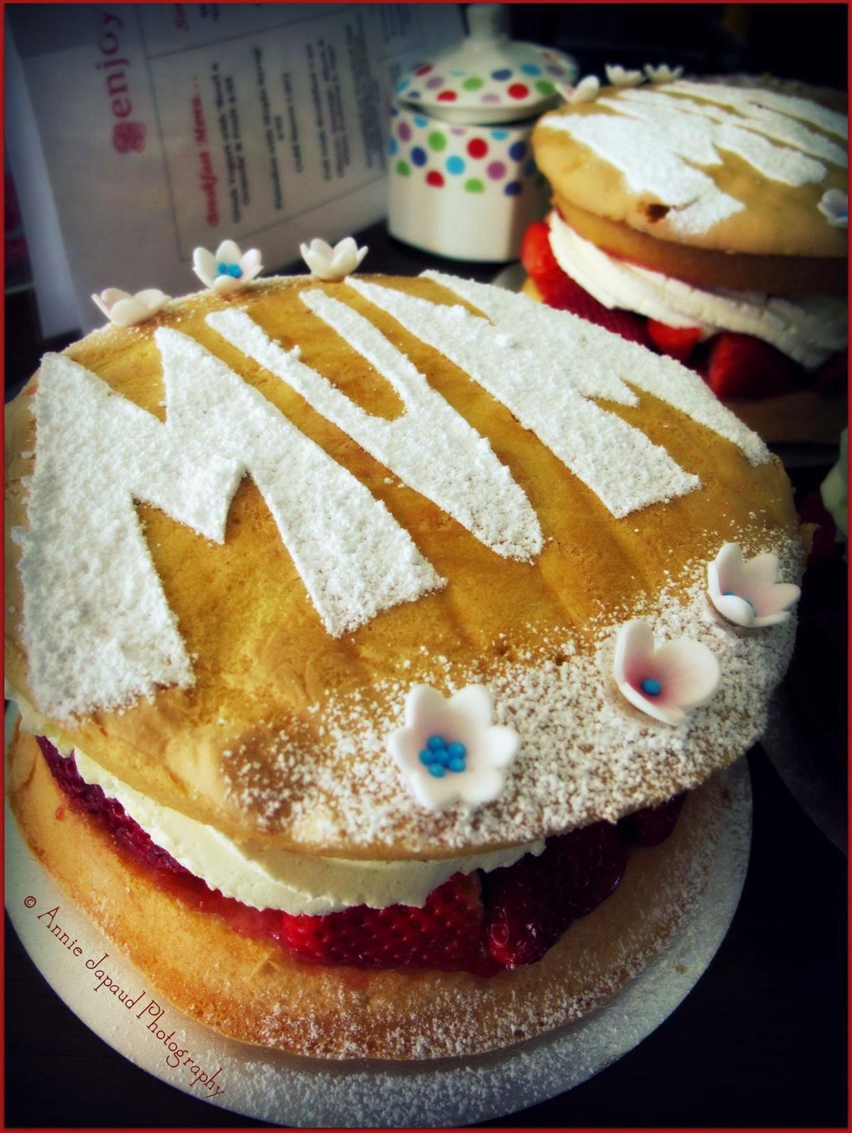 Victoria sponge cake up close
