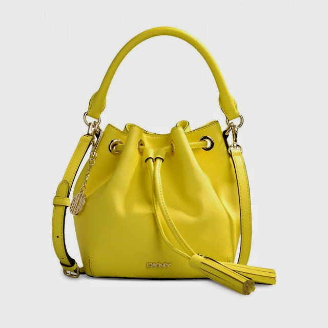 DKNY Bryant Park mini neon yellow bucket bag.