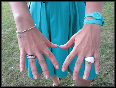 bracelet Tiffany & Co, bague Success Fred, bague Calvin Klein, Montre swatch turquoise