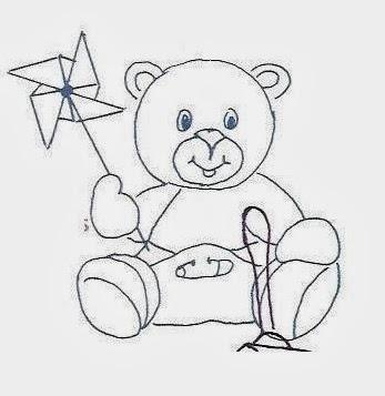 desenho de um ursinho com fralda e um catavento para pintar