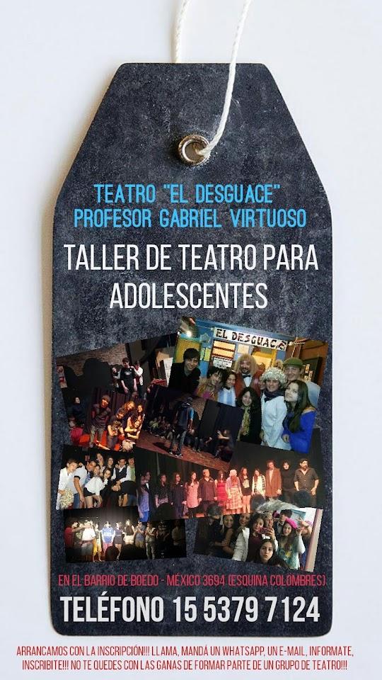 TALLERES DE TEATRO PARA ADOLESCENTES - Profesor Gabriel Virtuoso