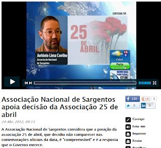 Associação Nacional de Sargentos; ANS; 25 de Abril; Declarações de António Lima Coelho; TSF; Revolução dos Cravos;O Governo Merece; RTP; Revolução; Portugueses; Portugal