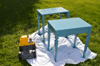 Spray painted side tables by Cicely Ingleside