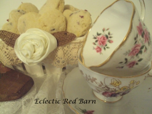 Eclectic Red Barn: Cherry Scones in Ceramic Basket with Tea Cups