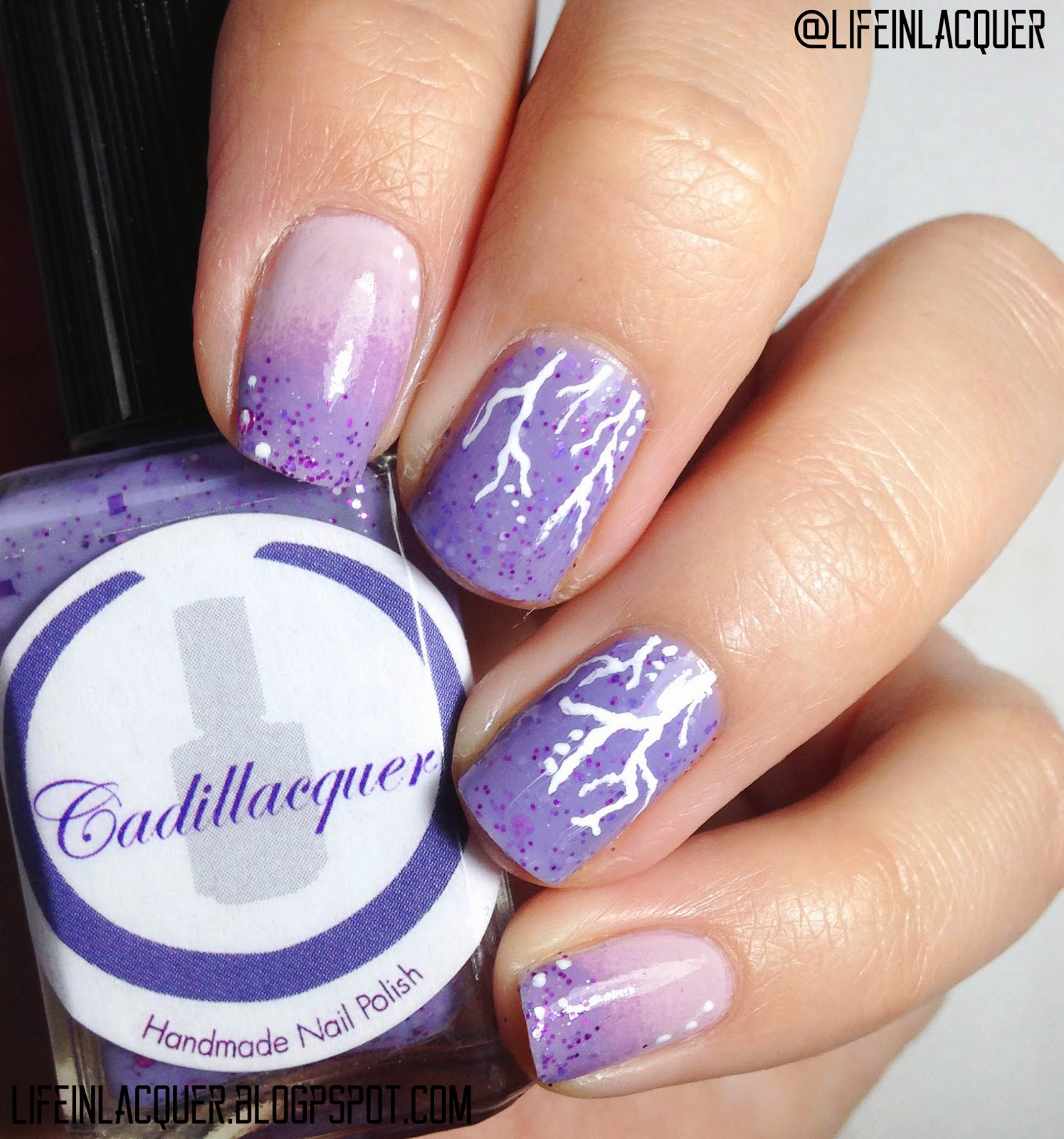 Life in Lacquer: Purple Cracked Nail Art