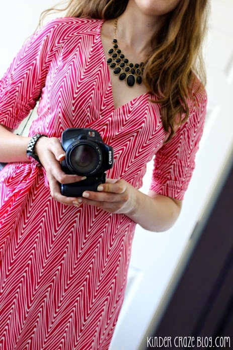 Stitch Fix pink Anabelle 3/4 Abstract Chevron Belted Dress from 41Hawthorn paired with a black bubble necklace