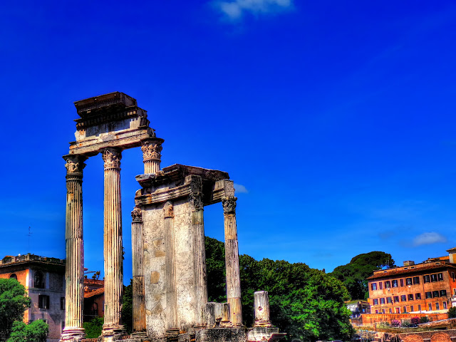 Rome, Italy - Roman Forum - Temple of Castor and Pollux - Full