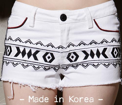 Aztec Embroidered White Denim Shorts