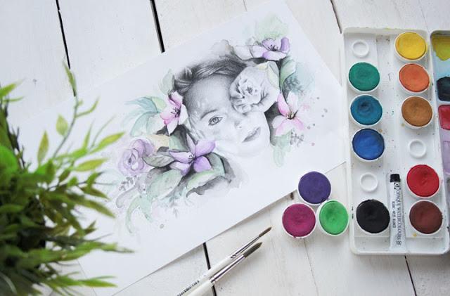 Ilustración a lápiz y acuarela