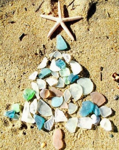 seaglass Christmas tree