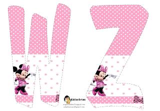 Lindo alfabeto de Minnie saludando, en rosa y blanco WZ.