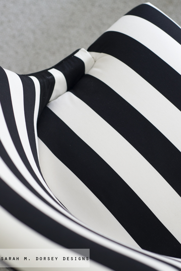 so we cut it short and created a black stripe ironed and folded under on the edges out of the black fabric used for the cording and stapled in place - Black And White Striped Chair