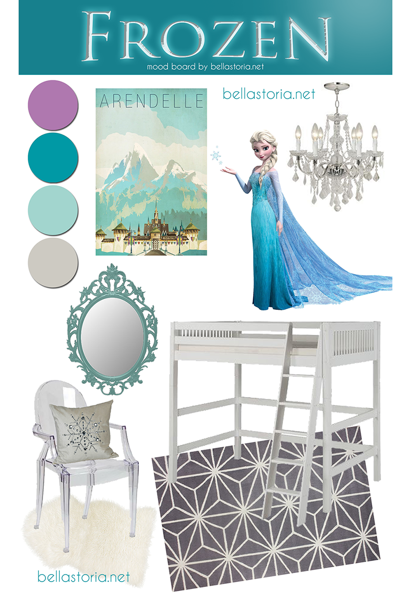 Frozen inspired girl's room by BellaStoria.net - so pretty!