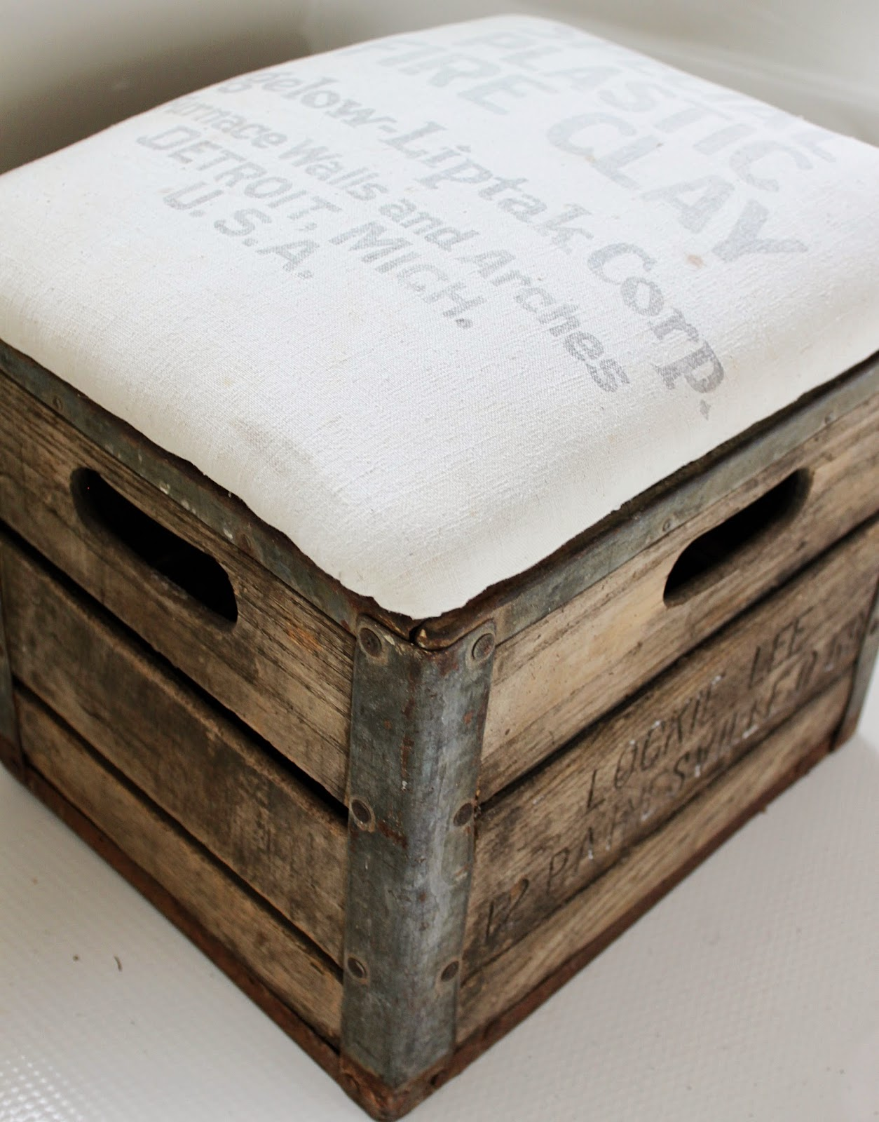 Namely original milk crate ottoman