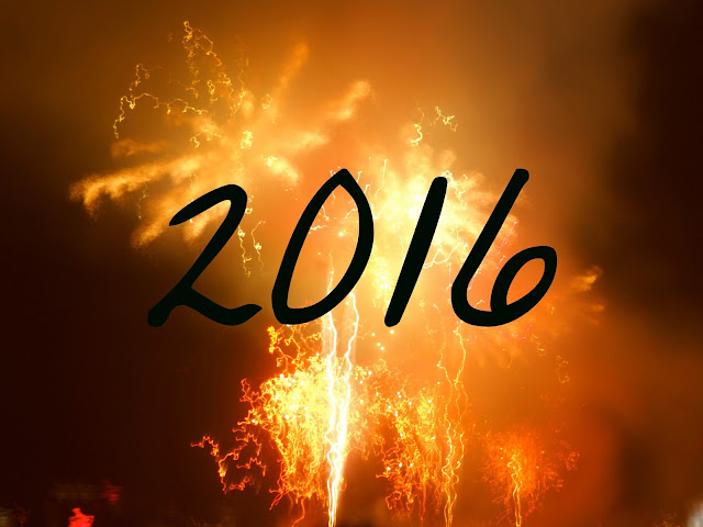 2016 text on fireworks background