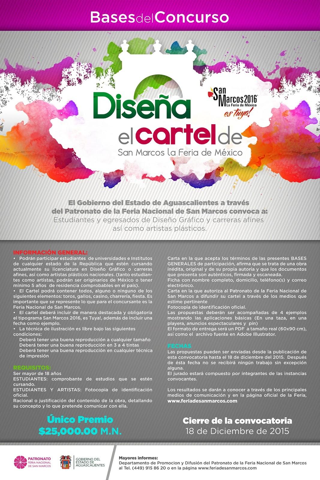 Convocatoria dise o de cartel feria san marcos 2016 for Convocatoria concurso docente 2016