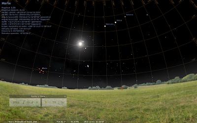 Imágen generada por Stellarium, alineación de planetas y pirámides de Giza, 03 de Diciembre 2012