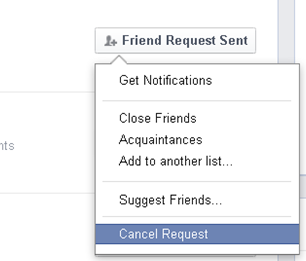 Cancel Facebook Friend request in facebook
