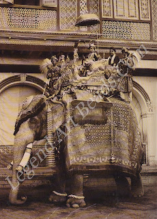 In 1910 a young son of the Maharaja of Ransda takes a ride on a royal elephant. Above him is suspended a chattra, or umbrella, ancient symbol of Indian royalty.