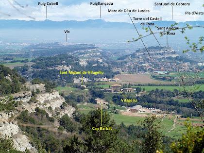 Panoràmica de la zona de Tona i voltants del mas Vilageliu des de la Baga del Puig