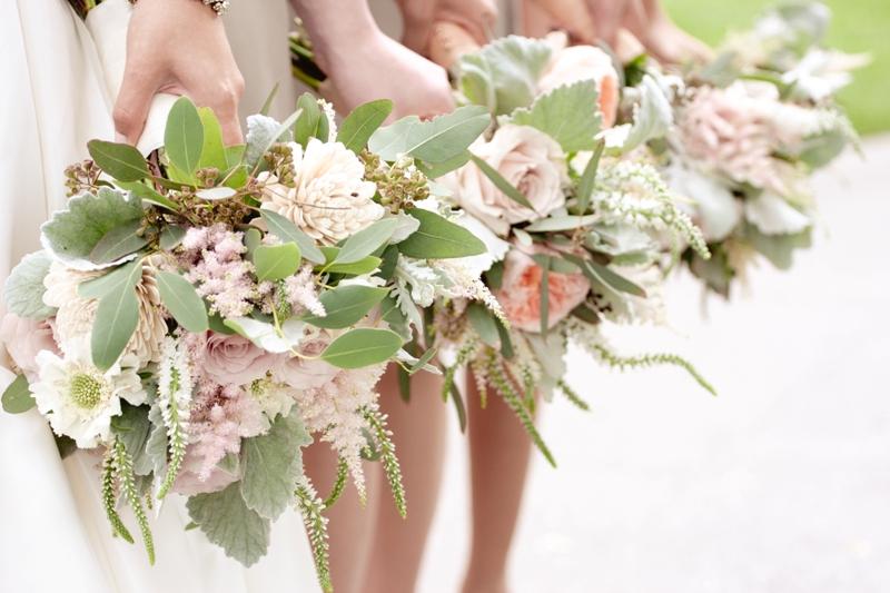 Courtenay Lambert Florals, Bouquets of Quicksand Roses, Scabiosa Flower, Dusty Miller, Seeded Eucalyptus, Astilbe, Veronica, Balsa Wood Sola Tapioca flowers, Juliet Garden Rose.