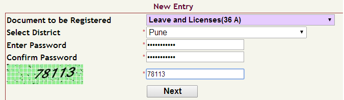 www.anulom.com how to do e registration of leave and license ? Screen 1