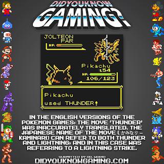 pok%C3%A9mon thunder fact Random Game Facts   Pokémon Mistranslation
