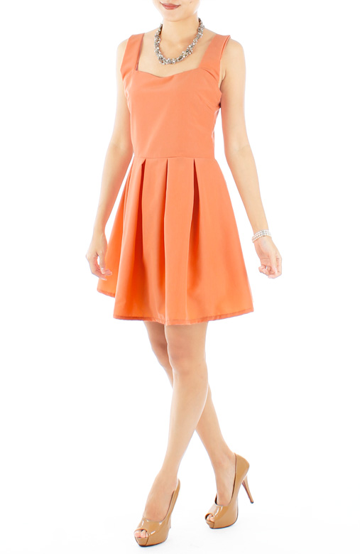 Melon Orange Sweetheart Neckline Pleated Flare Dress