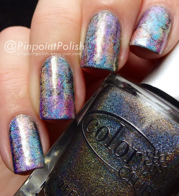 Color Club Halo Hues, Miss Bliss, Cosmic Fate, Kismet, Over The Moon, Eternal Beauty, Beyond , Saran Wrap nail art