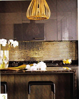 modern kitchen design -glass tiles backsplash