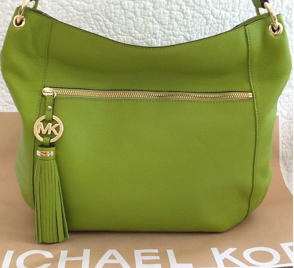 PrettyTreasure2u: Michael Kors Lime Green Charm Tassel Leather Handbag