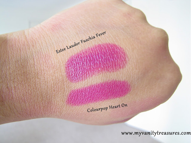 MAC girl about town dupe, Colourpop Heart On Swatch, Estee Lauder Fuchsia Fever