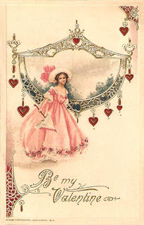 antique embossed valentine postcard post card, pretty lady, John Winsch