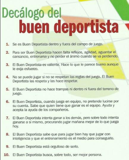 DECÁLOGO DEL BUEN DEPORTISTA