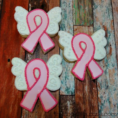 Butterfly Cancer Ribbon Cookies